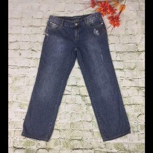 Michael Kors Straight Leg Distressed Pants Jeans
